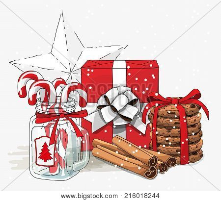Christmas still-life, red gift box wit white ribbon, cookies, glass jar with candy canes and cinnamon sticks on white background, vector illustration, eps 10 wit transparency