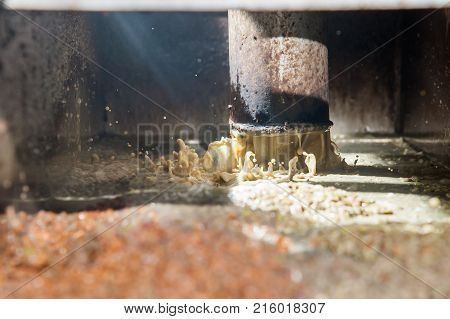 Olive pomace coming out from a pipe after the separation from water and oil