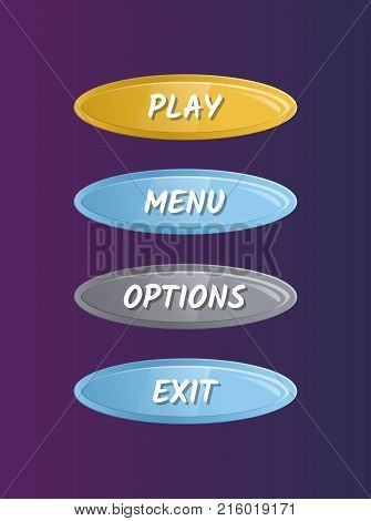 Colorful oval options panel for user interface. Play, menu, options and exit cartoon buttons. Bright design isolated vector illustration