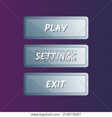 Blue options panel settings set in cartoon style. Play, settings and exit buttons. Bright user game design isolated vector illustration