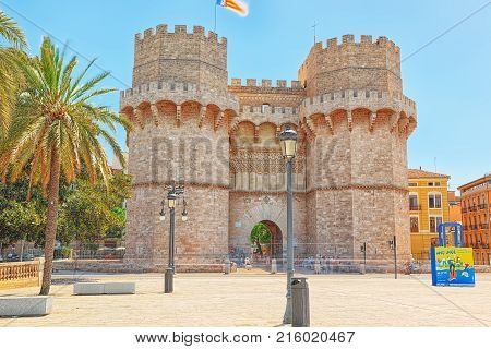 Serrans Gate Or Serrans Towers Is One Of The Twelve Gates ,of The Old City Of Valencia. Spain.