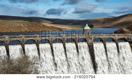 Craig Goch, the highest upstream of the series of dams in the Elan Valley, Wales. it is often referred to as the 'top dam'.