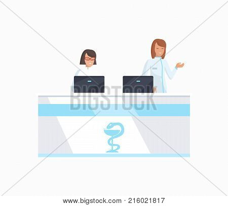 Hospital front desk with two women dressed in white robes in front of monitors. Vector illustration of clinic office isolated on white background