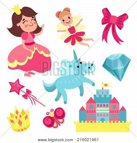 Fairy tale set, little princess and fairy with unicorn, castle and magic elements vector Illustrations on a white background