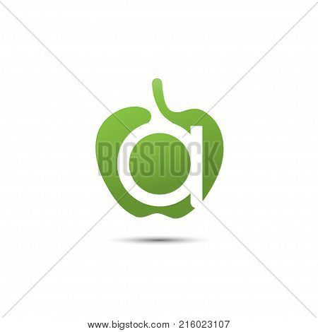 Letter A green apple abstract brand name logo. Branding vector logo letter A design. Eco green beauty saloon, spa lab, gardening, environmental protection,  healthcare natural food business sign.