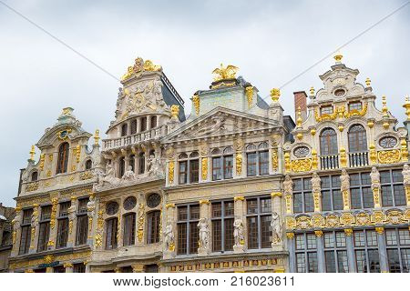 Guildhalls on the Grand Place - Grote Markt is the central square of Brussels. Belgium.