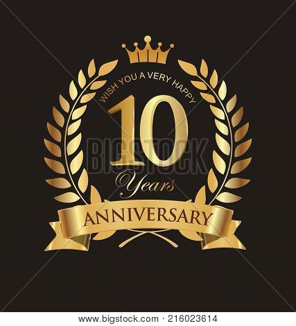 Anniversary Golden Laurel Wreath With Golden Ribbon 10 Years Vector Collection.eps