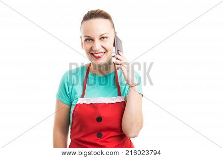 Happy Friendly Face Contact Person Wearing Red Apron Holding Phone