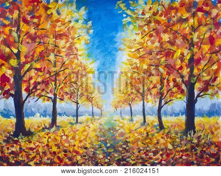 Painting Autumn parkway orange gold yellow dark trees in autumn park golden autumn walkway orange autumn nature. Road in autumn park landscape. Modern impressionism painting art.