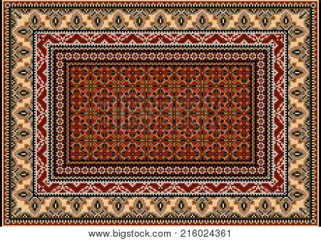 Luxurious colourful old design carpet with ethnic ornament of beige and gray patterns and motley center in red and brown tones