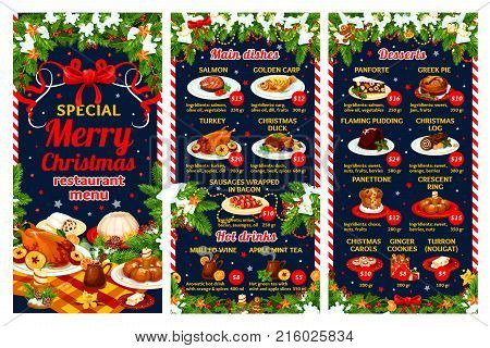 Christmas cuisine restaurant menu template of winter holiday festive dinner dishes. Turkey, fish and sausage, Xmas pudding and gingerbread cookie, New Year dessert and hot drinks with Xmas tree decor