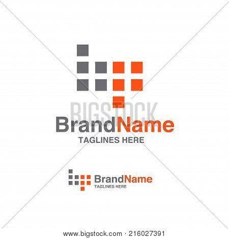 BP letter logo square block design vector illustration template, B letter logo vector, letter B and P logo vector, creative Letter BP letter logo