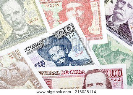 Cuban money, a background with Cuban Pesos