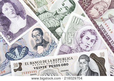 Old Colombian money, a background with Colombian Pesos