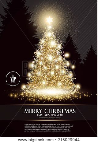 Christmas Tree. Elegant Card Template with Gold Shining Fir. Pine with Snowflakes and Stars. Luxury Design. Vector illustration