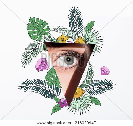Woman Looking Out Of Hole