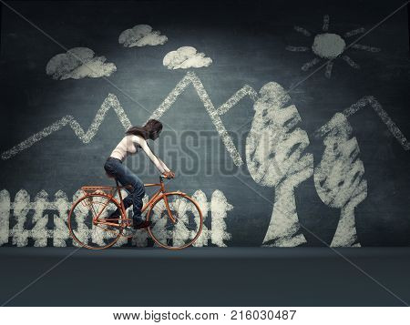 Young woman with a bicycle near a blackboard chalk. This is a 3d render illustration.