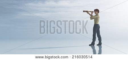 Man watching through a spyglass. This is a 3d render illustration
