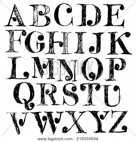 Hand drawn font with round elements. Grunge style alphabet