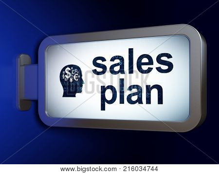 Advertising concept: Sales Plan and Head With Finance Symbol on advertising billboard background, 3D rendering