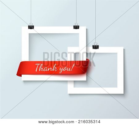 Photo frame with handwritten phrase Thank you. Realistic vector illustration of white photoframes and red ribbon