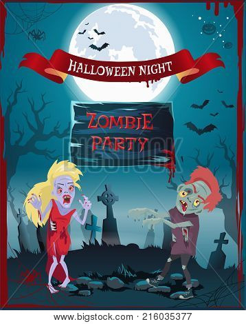 Halloween night, zombie party poster representing undead people, full moon and graveyard, spiders and cobwebs, blood and bats vector illustration