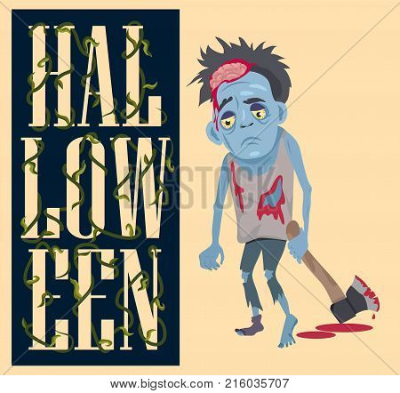 Halloween poster with scary monster with bloody ax, undead person with hammer vector illustration with creature on light pink background