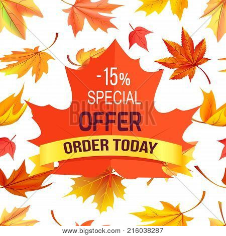 Special offer - 15 order today promo advertisement on red maple leaf on background of foliage icons isolated on white vector illustration poster