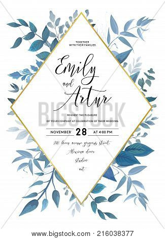 Wedding invite invitation save the date card design with watercolor blue color leaves forest plants herbs composition & golden rhombus frame. Vector delicate beauty postcard editable layout