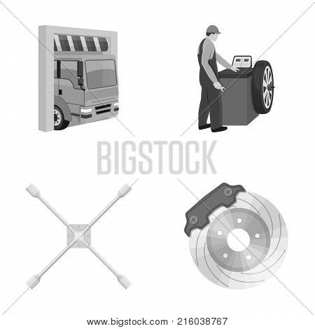 Wheel balancing, spanner and brake disc monochrome icons in set collection for design.Car maintenance station vector symbol stock illustration .