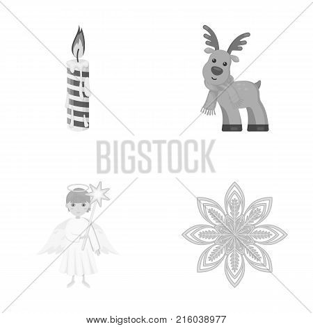 Christmas candle, deer, angel and snowflake monochrome icons in set collection for design. Christmas vector symbol stock  illustration.