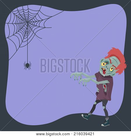 Poster with male monster and creeping spider on purple background. Vector illustration with scary zombie for Halloween congratulation