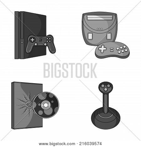 Game console, joystick and disc monochrome icons in set collection for design.Game Gadgets vector symbol stock  illustration. poster