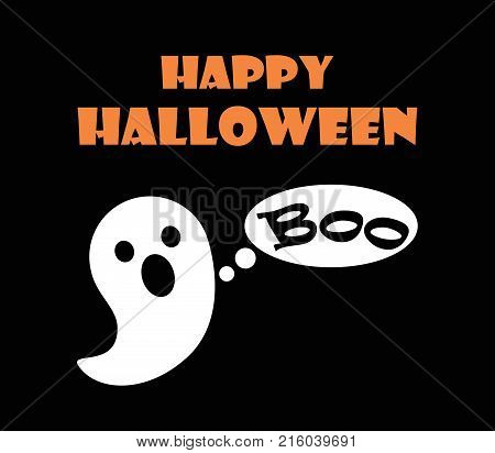 Happy Halloween scary ghost frightening with Boo sound. Vector illustration with festival of horror symbol isolated on black background