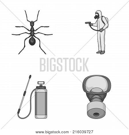 Ant, staff in overalls and equipment monochrome icons in set collection for design. Pest Control Service vector symbol stock  illustration.