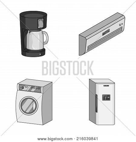 Home appliances and equipment monochrome icons in set collection for design.Modern household appliances vector symbol stock  illustration.