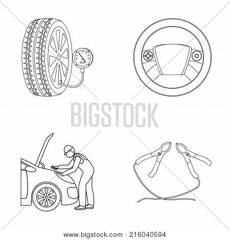 Engine adjustment, steering wheel, clamp and wheel outline icons in set collection for design.Car maintenance station vector symbol stock illustration .