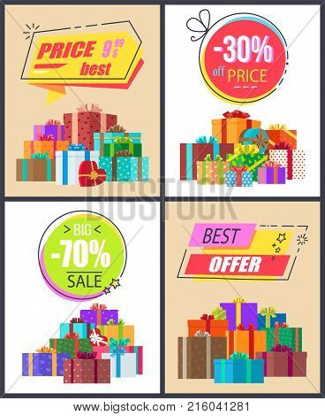 Total sale best prices discounts, final cost premium offer labels of geometric shapes with percent signs and many gift boxes in coor wrappings vector set