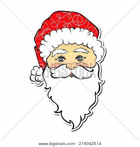 Vector cartoon Santa Claus. Cute personage. Christmas symbol. Element for holiday design isolated on white background.