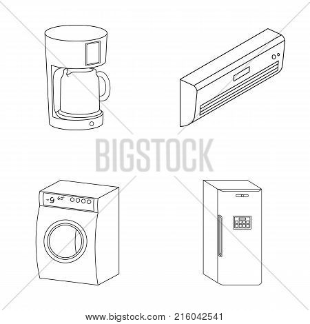 Home appliances and equipment outline icons in set collection for design.Modern household appliances vector symbol stock  illustration.