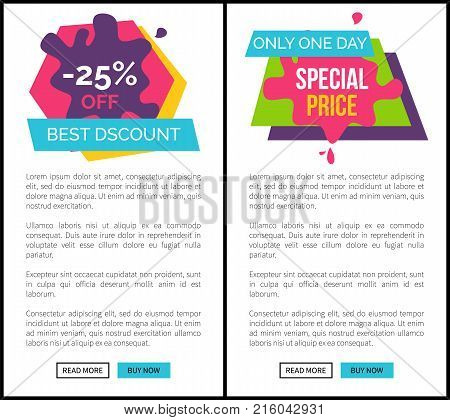 Labels set -25 best discount, only one day special price web pages collection with text sample, headline and buttons on vector illustration