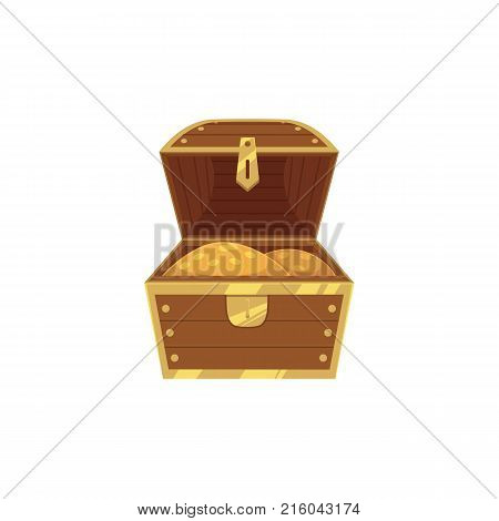 vector opened wooden treasure chest full of golden coins icon. Isolated illustration on a white background. Flat cartoon symbol of adventure, pirates, risk profit and wealth.