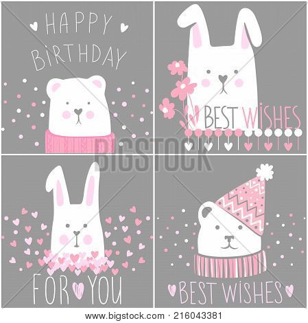 Vector collection greeting cards. Teddy-bear, rabbit with inscription for Happy Birthday and Best wishes. Cute kit with cartoon illustration. Holidays design.