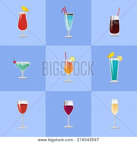 Vector illustration of different cocktails types decorated with umbrellas, lime and lemon served with ice and straws on blue background.