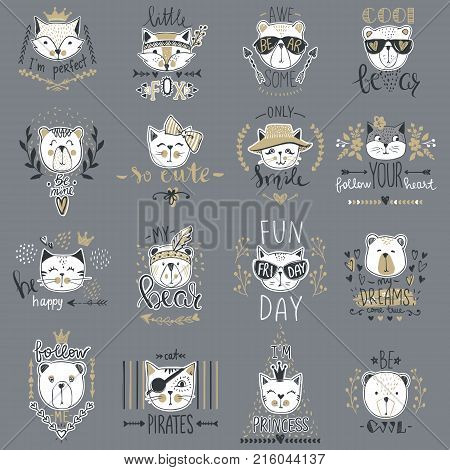 Big Vector collection with  cute animals. Set with teddy bears, cats, fox. Trendy design in sketch style  t-shirt print, cards, poster. Doodle kids series Funny characters. Cartoon art