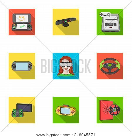 Game console and virtual reality flat icons in set collection for design.Game Gadgets vector symbol stock illustration.