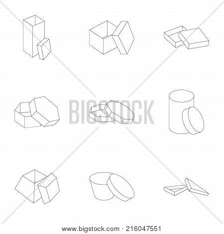 Box, package, packaging, and other  icon in outline style.Shell, framework, boxing icons in set collection