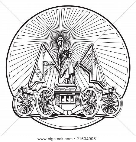 Simple black and white vector badge on theme of American history with two guns and Statue of Liberty executed in retro print style. Easily edit: file is divided into logical layers and groups. File doesn't contains gradients blends transparency and stroke