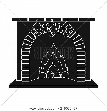 Christmas presents on the fireplace single icon in black style for design. Christmas vector symbol stock illustration .