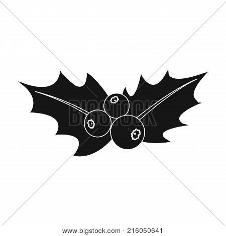 Holly symbol of Christmas single icon in black style for design.Christmas vector symbol stock illustration .